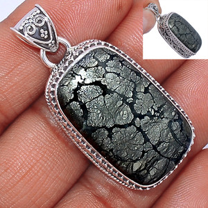 15g Pyrite In Agate 925 Sterling Silver Pendant  Jewelry PIAP222