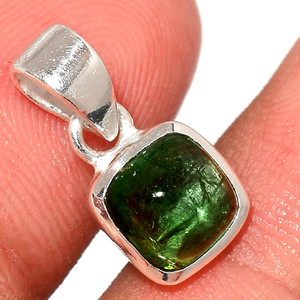 Green Tourmaline Cab 925 Sterling Silver Pendant  Jewelry TUCP64