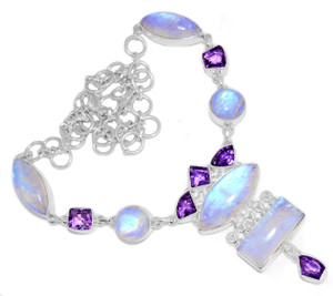 52g Blue Fire Rainbow Moonstone 925 Silver Cluster Necklace Jewelry RNE1712