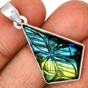 Carved Multi Fire Labradorite 925 Sterling Silver Pendant  Jewelry CLBP318