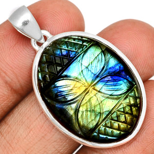 14g Carved Multi Fire Labradorite 925 Sterling Silver Pendant  Jewelry CLBP367