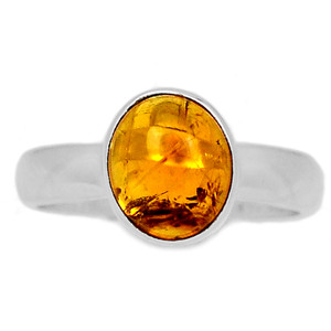 Citrine Cab 925 Sterling Silver Ring Jewelry s.7.5 CTCR689