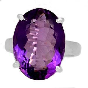 Faceted Amethyst 925 Sterling Silver Ring Jewelry s.5.5 AMFR757