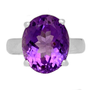 Faceted Amethyst 925 Sterling Silver Ring Jewelry s.6 AMFR821