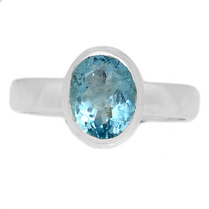 Faceted Aquamarine 925 Sterling Silver Ring Jewelry s.7.5 AQFR1343