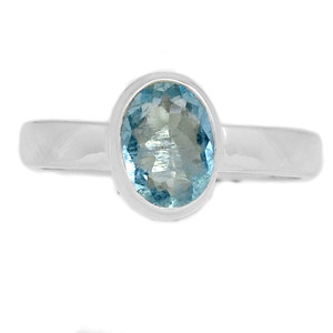 Faceted Aquamarine 925 Sterling Silver Ring Jewelry s.8.5 AQFR1386