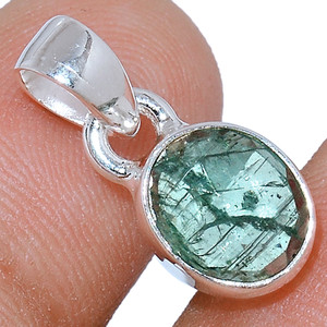 Faceted Green Kyanite 925 Sterling Silver Pendant  Jewelry GKFP33