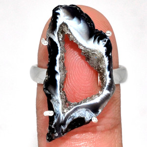 Geode Druzy 925 Sterling Silver Ring Jewelry s.8 GODR327