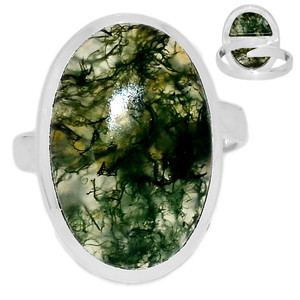 Adjustable Ring - Moss Agate  925 Sterling Silver Ring Jewelry s.8.5 MOSR712