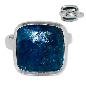 Adjustable Ring - Neon Blue Apatite Cabochon 925 Silver Ring Jewelry s.7 NACR184