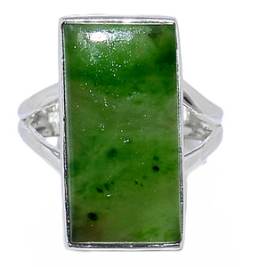 Nephrite Jade 925 Sterling Silver Ring Jewelry s.7 NFZR426