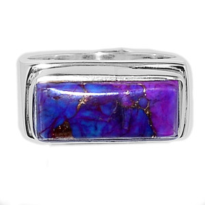 Copper Purple Turquoise 925 Sterling Silver Ring Jewelry s.7.5 PCTR471