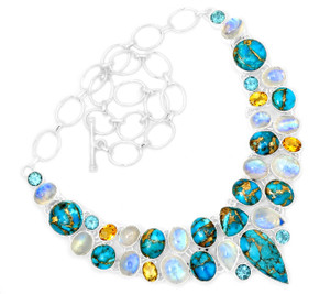76g Blue Copper Turquoise 925 Sterling Silver Cluster Necklace Jewelry RNE1708