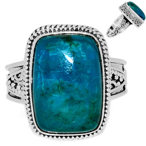 Chrysocolla Peru 925 Sterling Silver Ring Jewelry s.9 CCPR392