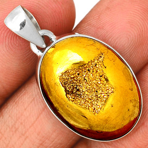 Golden Window Druzy 925 Sterling Silver Pendant  Jewelry GWDP212