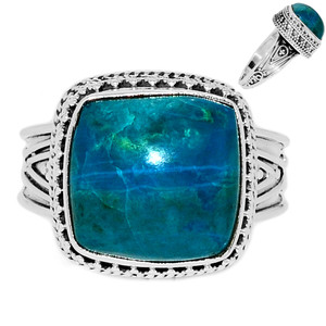 Chrysocolla Peru 925 Sterling Silver Ring Jewelry s.9 CCPR386