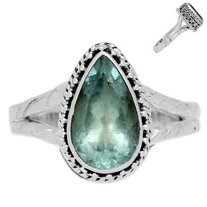 Faceted Aquamarine 925 Sterling Silver Ring Jewelry s.8 AQFR1418