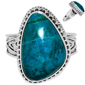 Chrysocolla Peru 925 Sterling Silver Ring Jewelry s.10 CCPR393