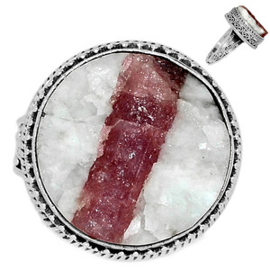 12g Pink Tourmaline in Quartz 925 Sterling Silver Ring Jewelry s.10 PTQR153