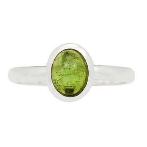 Green Tourmaline Cab 925 Sterling Silver Ring Jewelry s.8 TUCR64