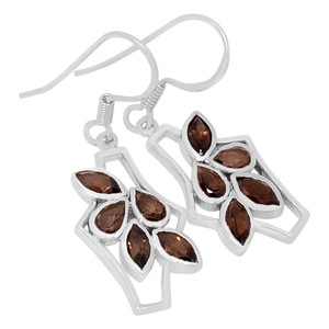Smokey Quartz 925 Sterling Silver Earrings Jewelry E2141S