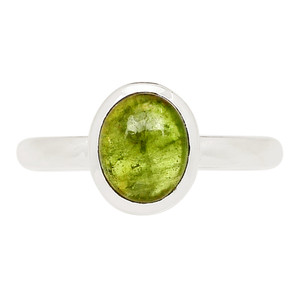Green Tourmaline Cab 925 Sterling Silver Ring Jewelry s.8.5 TUCR42