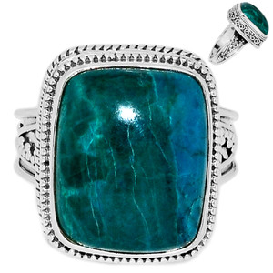 Chrysocolla Peru 925 Sterling Silver Ring Jewelry s.8.5 CCPR382