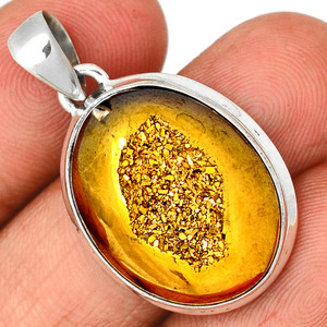 Golden Window Druzy 925 Sterling Silver Pendant  Jewelry GWDP219