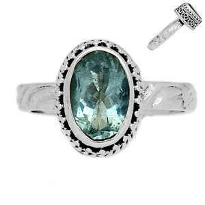 Faceted Aquamarine 925 Sterling Silver Ring Jewelry s.7.5 AQFR1404