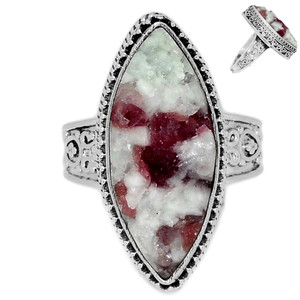 Pink Tourmaline in Quartz 925 Sterling Silver Ring Jewelry s.10 PTQR154