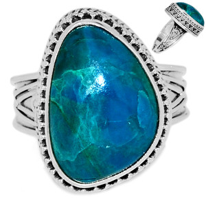 Chrysocolla Peru 925 Sterling Silver Ring Jewelry s.9 CCPR391