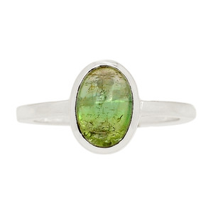 Green Tourmaline Cab 925 Sterling Silver Ring Jewelry s.9 TUCR59