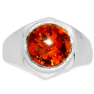 12g Amber 925 Sterling Silver Ring Jewelry s.11 AMBR745