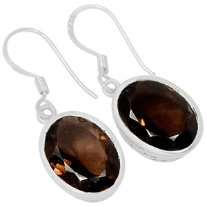 Smokey Quartz 925 Sterling Silver Earrings Jewelry E2107S