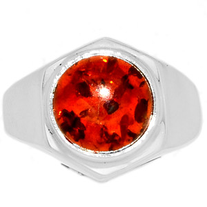 12g Amber 925 Sterling Silver Ring Jewelry s.10.5 AMBR736
