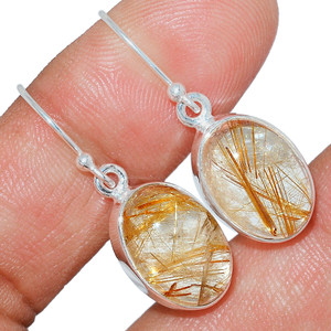 Golden Rutile 925 Sterling Silver Earrings Jewelry GRUE192