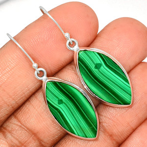Malachite 925 Sterling Silver Earrings Jewelry MLAE916