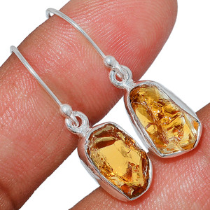 Citrine Rough 925 Sterling Silver Earrings Jewelry CTRE204