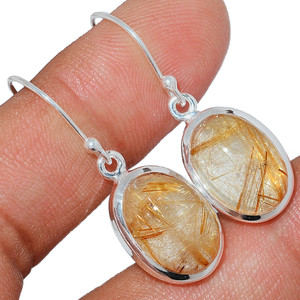 Golden Rutile 925 Sterling Silver Earrings Jewelry GRUE196