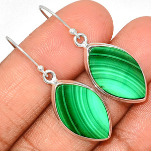 Malachite 925 Sterling Silver Earrings Jewelry MLAE908