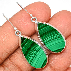 13g Malachite 925 Sterling Silver Earrings Jewelry MLAE920