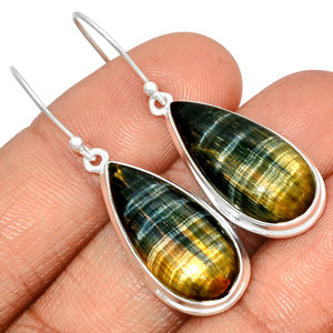 Rare Hawk's Eye 925 Sterling Silver Earrings Jewelry RHEE82