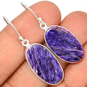 Charoite 925 Sterling Silver Earrings Jewelry CROE646