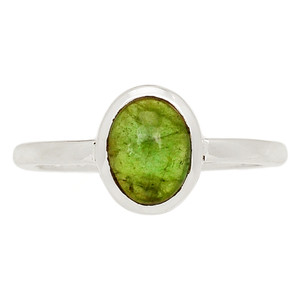 Green Tourmaline Cab 925 Sterling Silver Ring Jewelry s.8.5 TUCR52