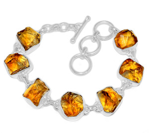 23g Citrine Rough 925 Sterling Silver Bracelet Jewelry CTRB9
