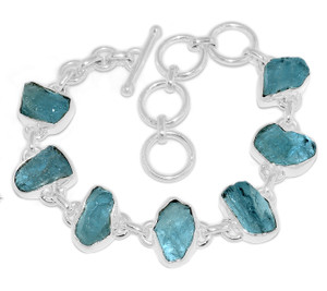 19g Aquamarine Rough 925 Sterling Silver Bracelet Jewelry AQRB38
