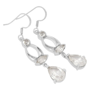 Crystal 925 Sterling Silver Earrings Jewelry E2135WT