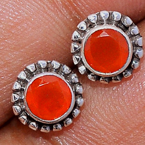 Faceted Carnelian 925 Sterling Silver Stud Earrings Jewelry CRFS122