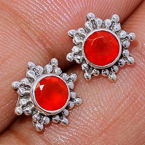 Faceted Carnelian 925 Sterling Silver Stud Earrings Jewelry CRFS117