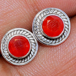 Faceted Carnelian 925 Sterling Silver Stud Earrings Jewelry CRFS141